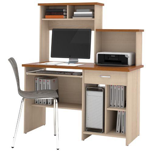 Poste De Travail Informatique Compact De Bestar 86450 Brun Bureaux Home Office Computer Desk Home Office Furniture Home