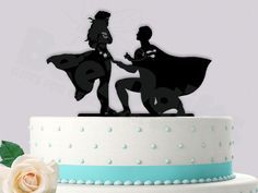 Superman Proposing to Wonder woman Superhero Event Wedding Cake Topper  #superman #caketopper #wonderwoman