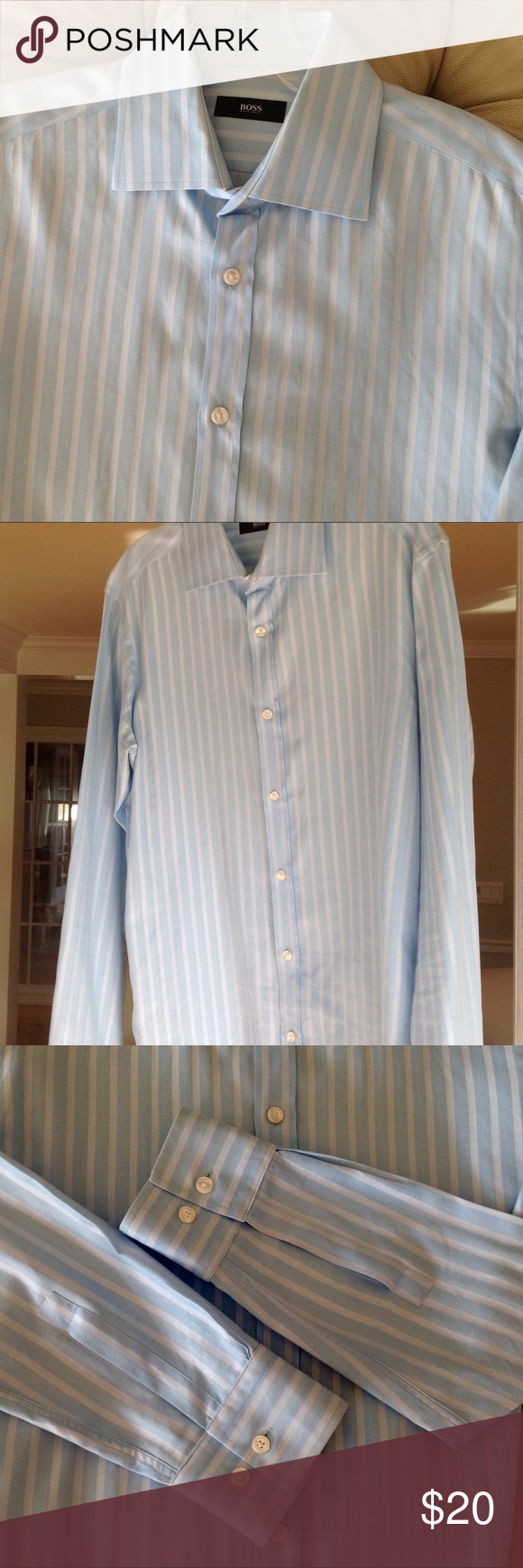 04c60e40 Men's Hugo Boss Dress Shirt Men's button down dress shirt in sky blue and  white stripe. Great condition. Hugo Boss Shirts Dress Shirts. SALE!
