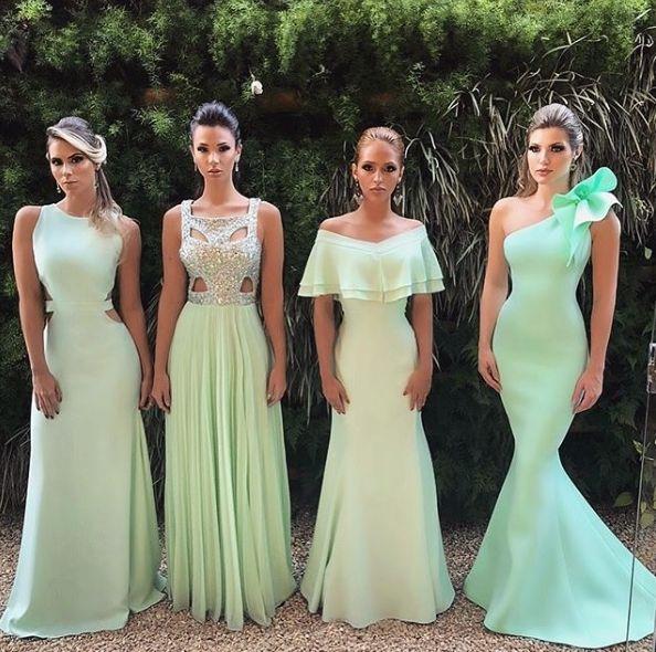 Vestido madrinha verde menta