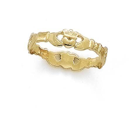 14k Claddagh Thumb Ring - Size 10.0 - 1.3 Grams in 14k Yellow Gold - JewelryWeb Style: CCT14728YH10 - FREE gift-ready jewelry box