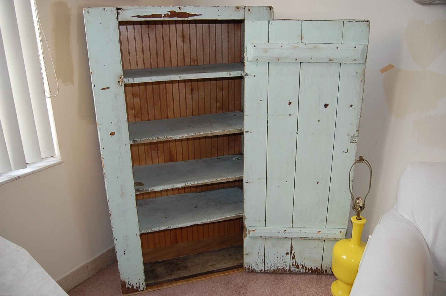 Vintage Shabby Chic Wooden Cabinet with Pale Green Paint / 60 Inches ...