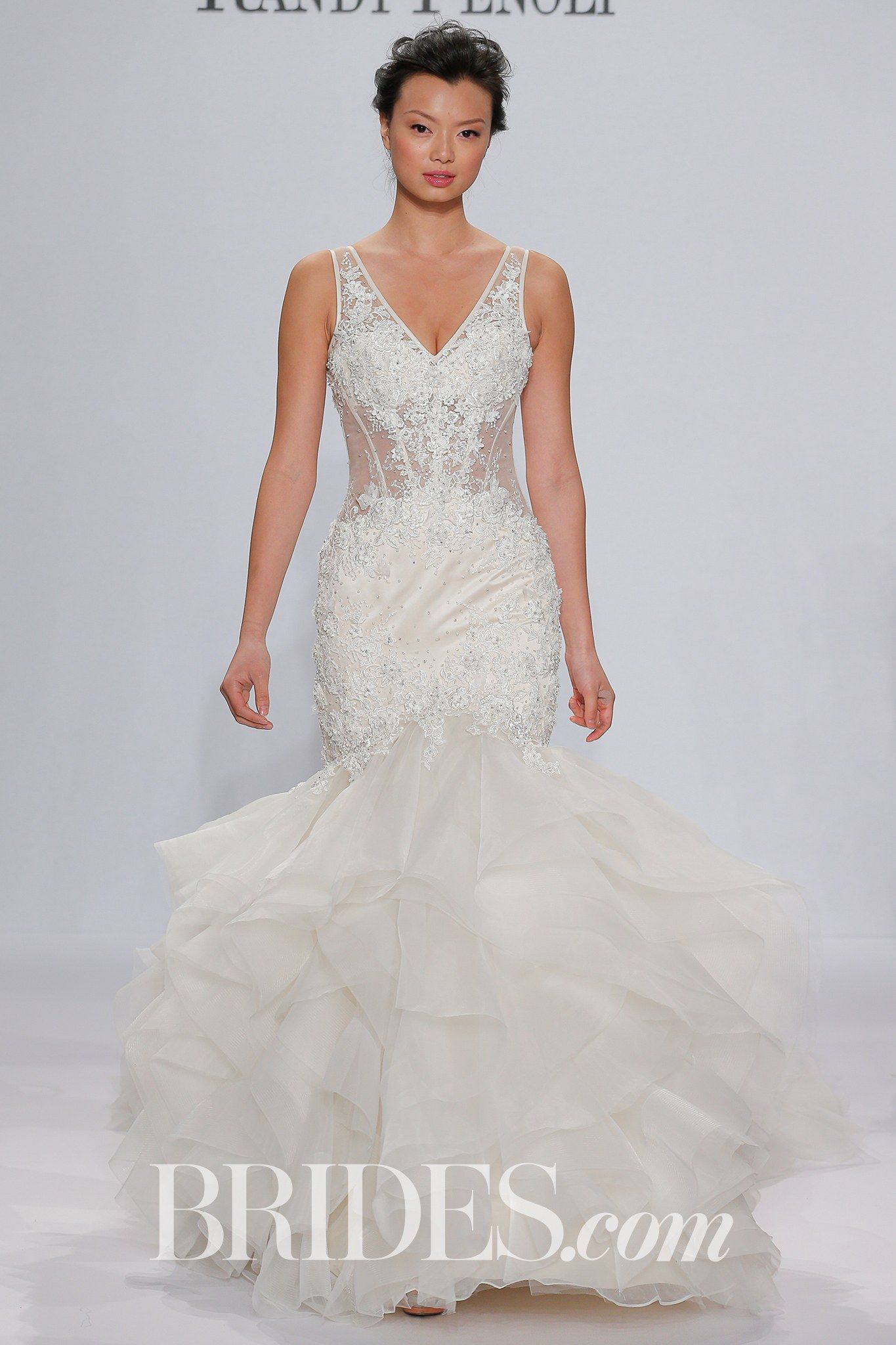 Randy fenoli for kleinfeld bridal wedding dress collection spring randy fenoli for kleinfeld bridal wedding dress collection spring 2018 brides charlize satin v neck mermaid dress with a sheer yoke and midriff and a junglespirit