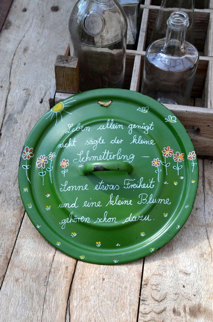 Bemalte Deckel, Upcycling, Vintage, Geschenkidee