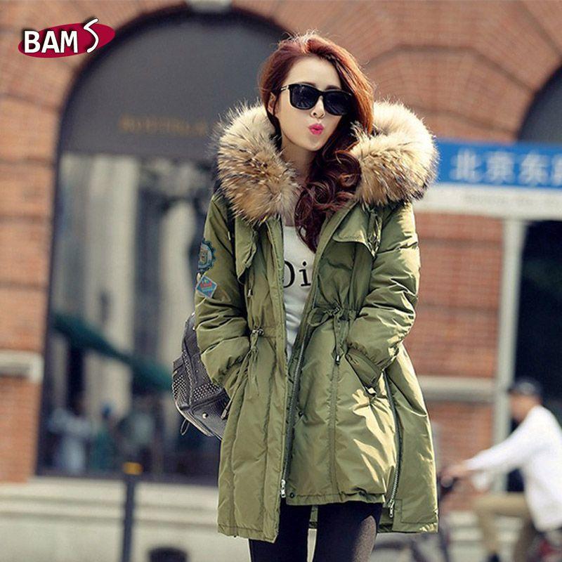 Casaco de inverno mulheres casaco de capuz de 2015 grande gola de pele de guaxinim exército verde casuais mulheres casaco quente fino em Casacos de Plumas e Parcas de Roupas e Acessórios no AliExpress.com | Alibaba Group