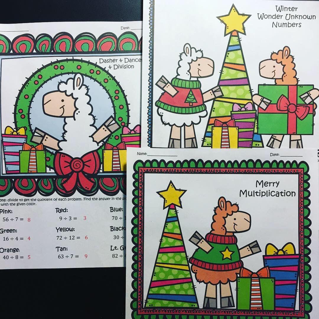 Multiplying And Dividing Holiday Christmas Llama Themed