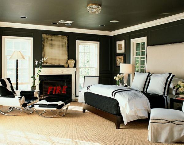Kühne Schlafzimmer Farben Ideen mit schwarz-weißen ...