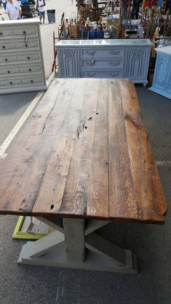 7 Ft Barnwood Trestle Table