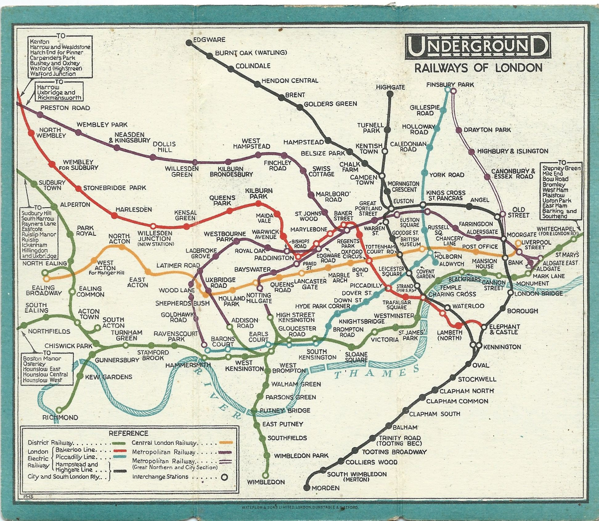 london underground railway map 1928 designed by fh stingemore map