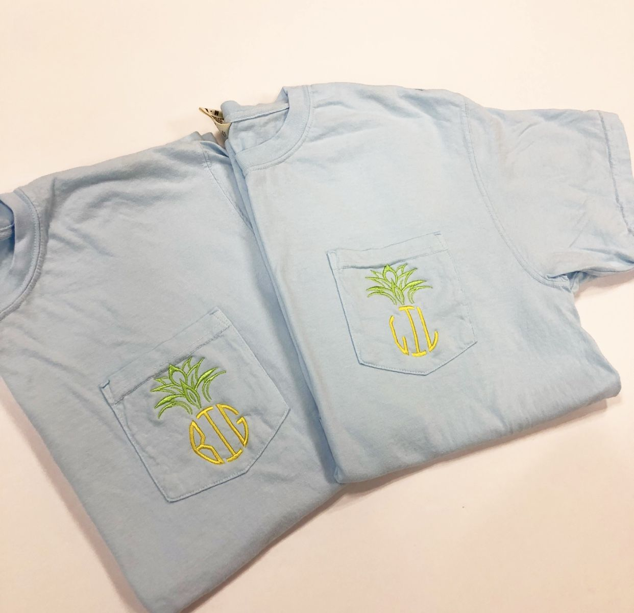 Light Blue Shirts Lime Green Pineapple Top Thread Color Yellow