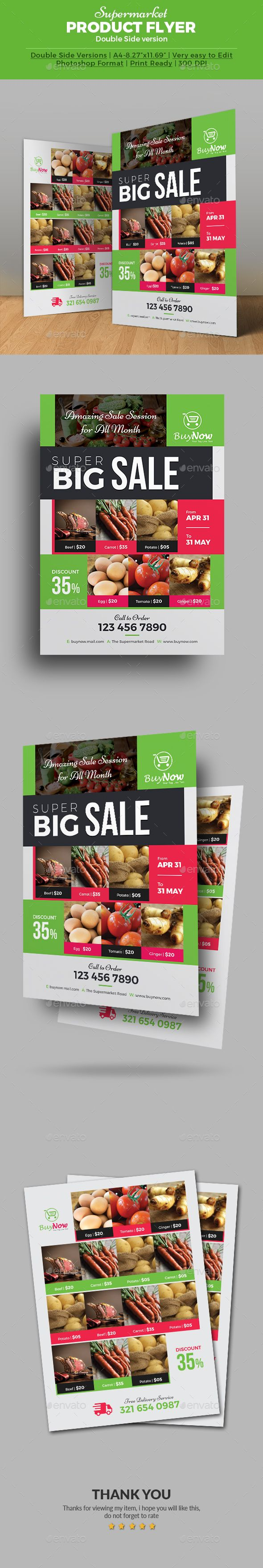 supermarket products flyer templates seasons colors and appliances product flyer