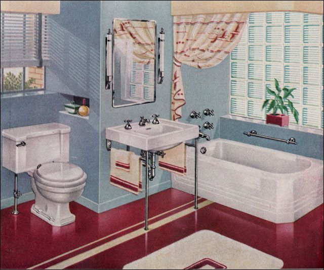 Another fun bathroom too i like the glass block windows for Bathroom ideas 1940
