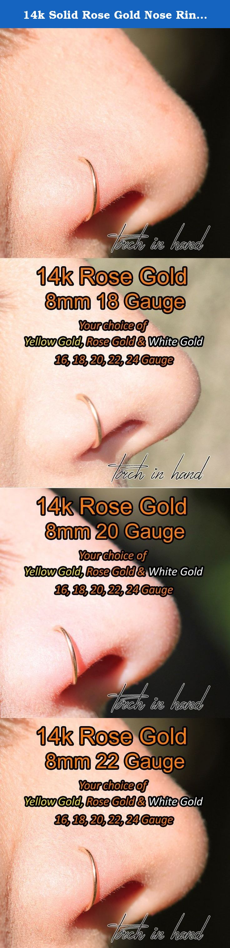 Piercing your nose  k Solid Rose Gold Nose Ring with Ball mm Nose Hoop with Ball