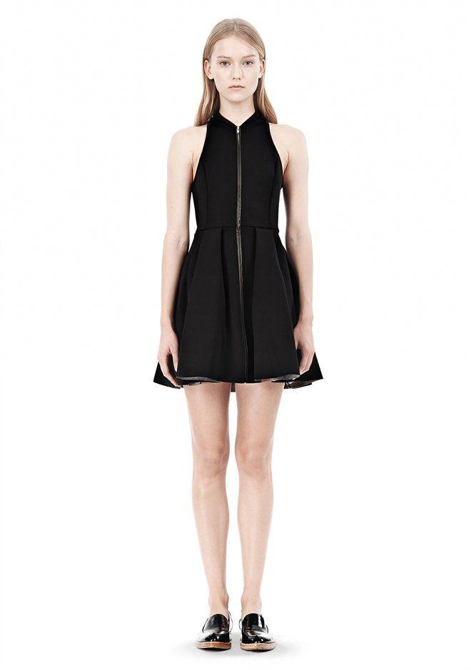 Alexander Wang - Exclusive Leather Trim Jersey Bonded Neoprene Dress