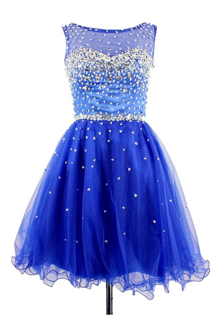 1579c28d395 A Line Scoop Sleeveless Short Prom Party Homecoming Dress Size 2 Blue