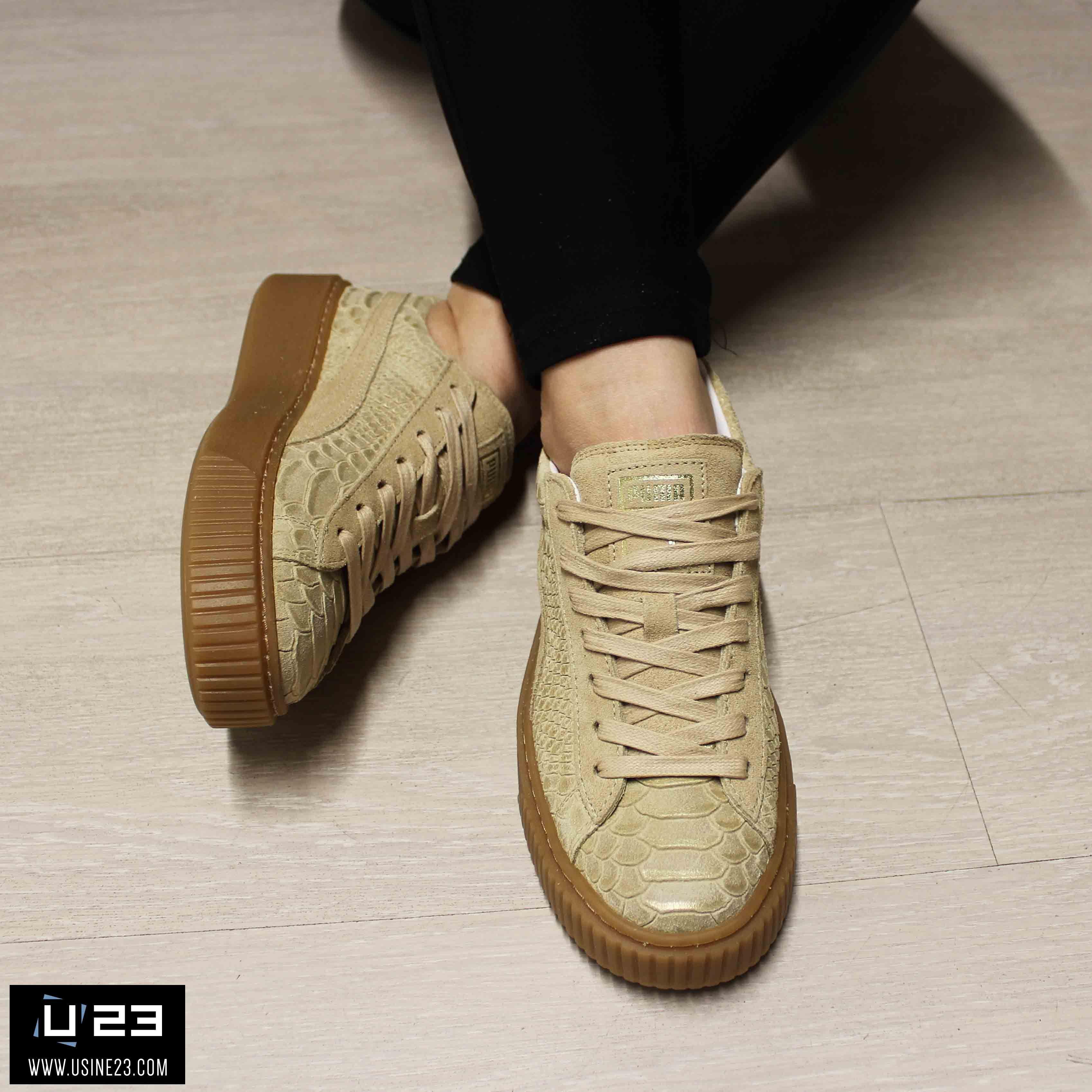 beige puma sneakers puma platform exotic skin