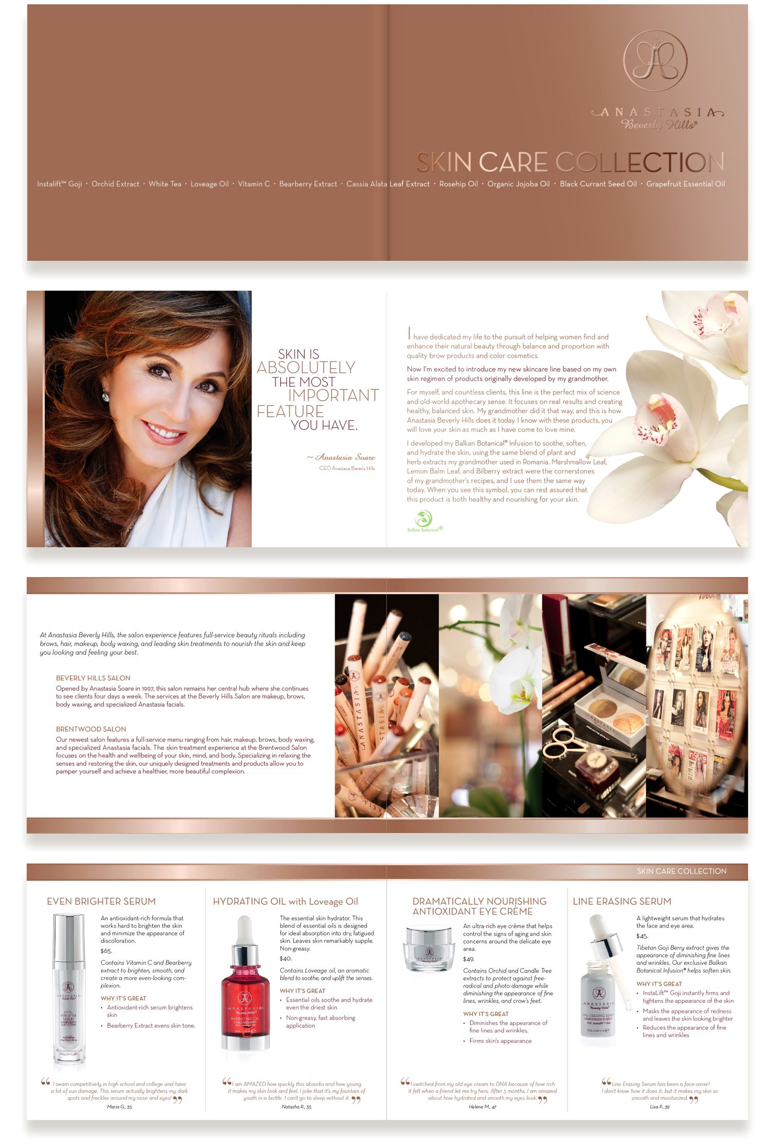 Brochure design for Anastasia Beverly Hills skin care collection, featuring their packagings signature rose gold.    anastasia.net