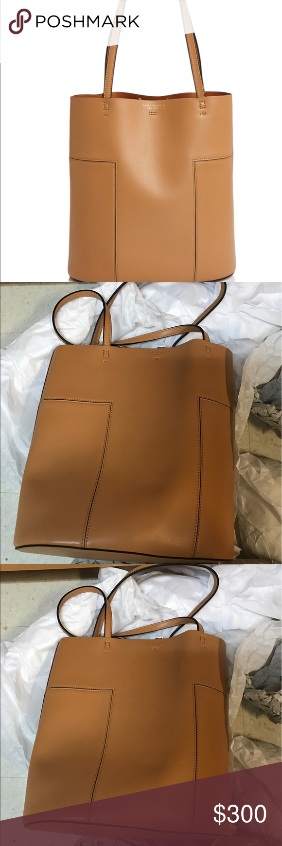 d13ba1cb7f00 Tory burch block t medium leather tote new Double handles Toggle closure   unlined Removable zip pouch 11.25