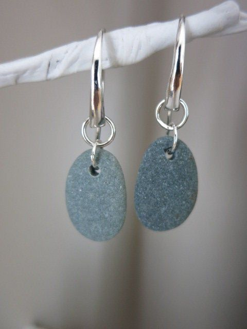 Photo of Hand Drilled / Beach pebble earrings / beach stone jewelry / sterling silver