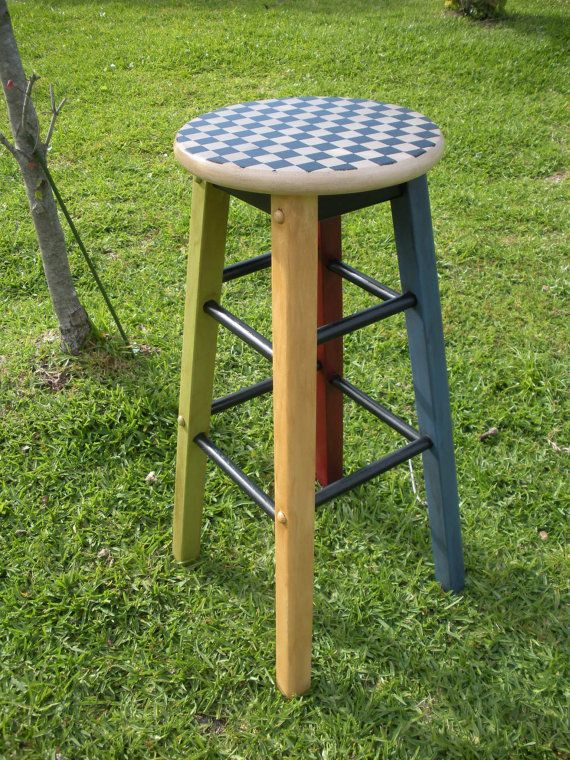 Painted Wood Counter Stool Checkered Farmhouse By Atticjoys1