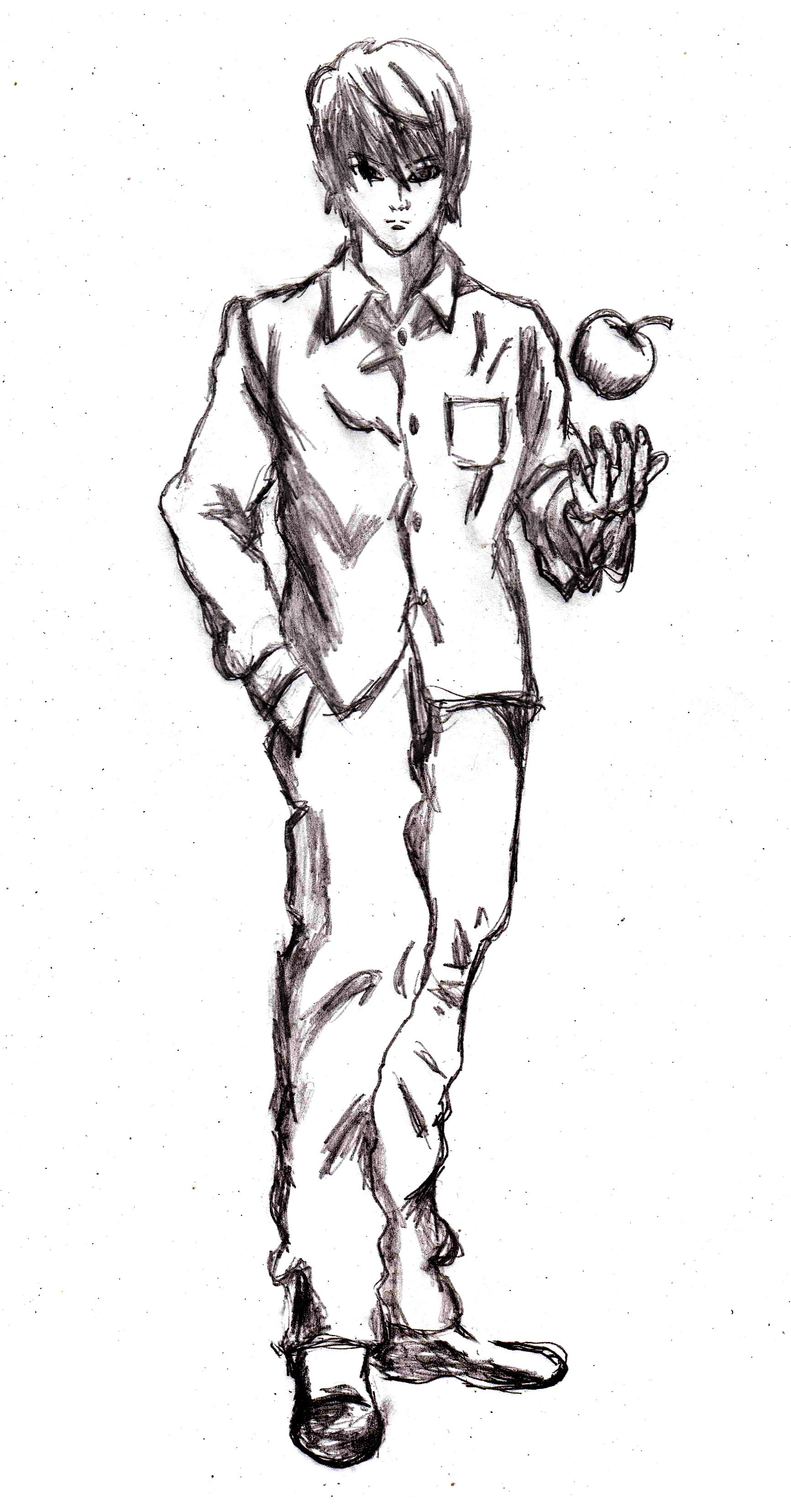Kira sketch, anime, manga, Death Note drawing tutorial