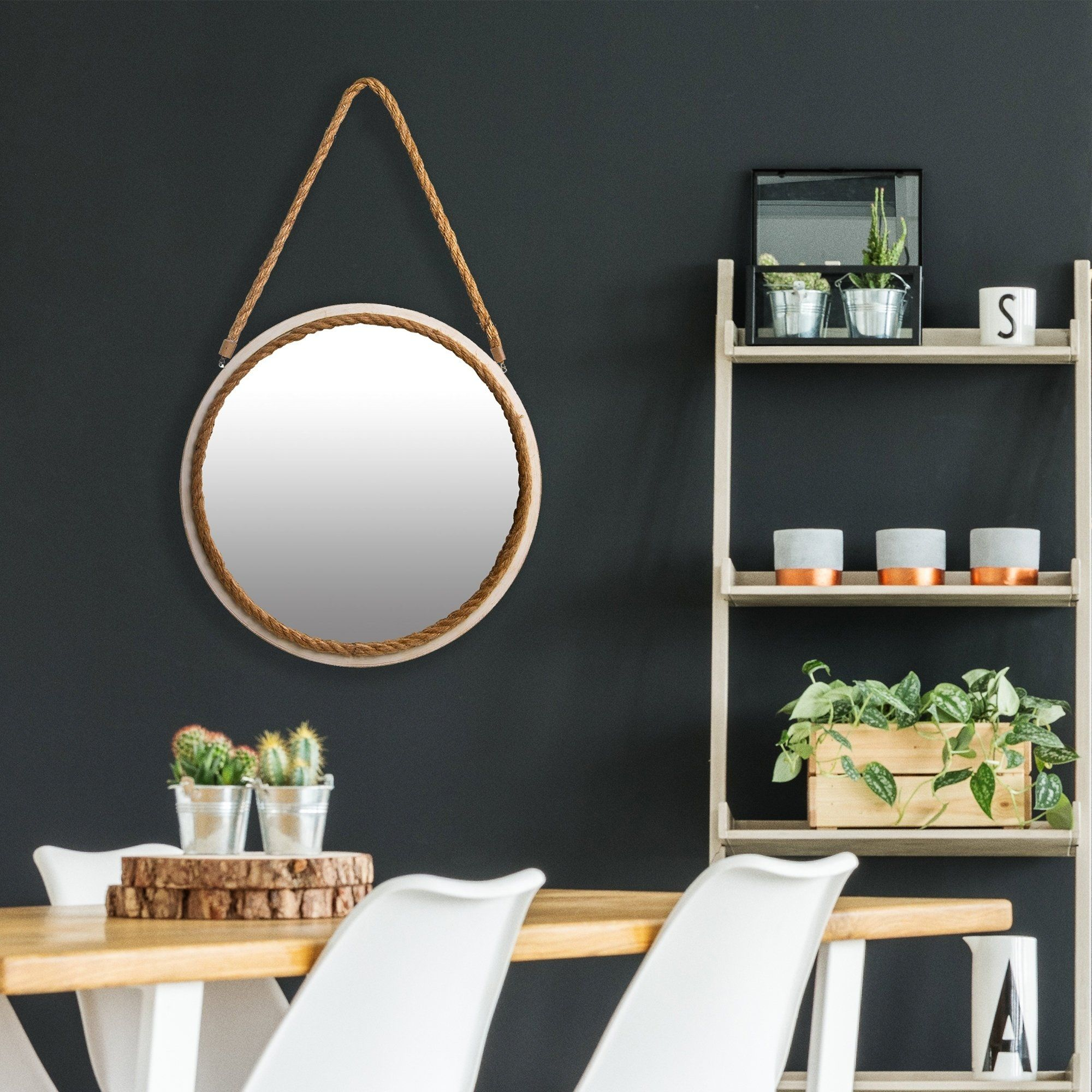 16 Inch Distressed Round Rope Wall Mirror White White Grey Wall Mirrors Rustic Wall Mirrors White Wall Mirrors