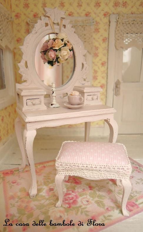 Amazing Miniature Pale Pink Princess Dressing Table And Stool.