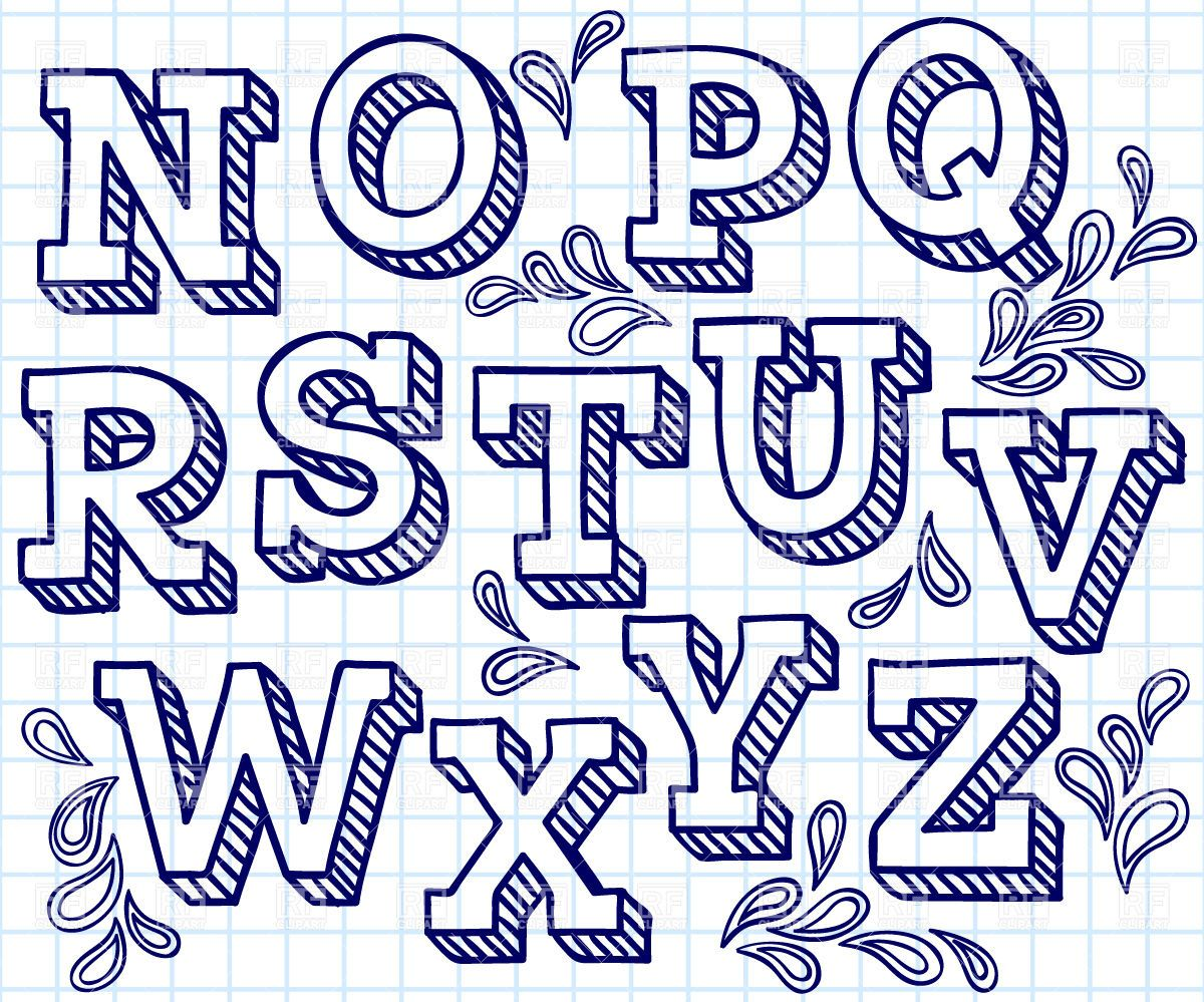 Hand drawn font - shaded letters and decorations, 29822, download ...