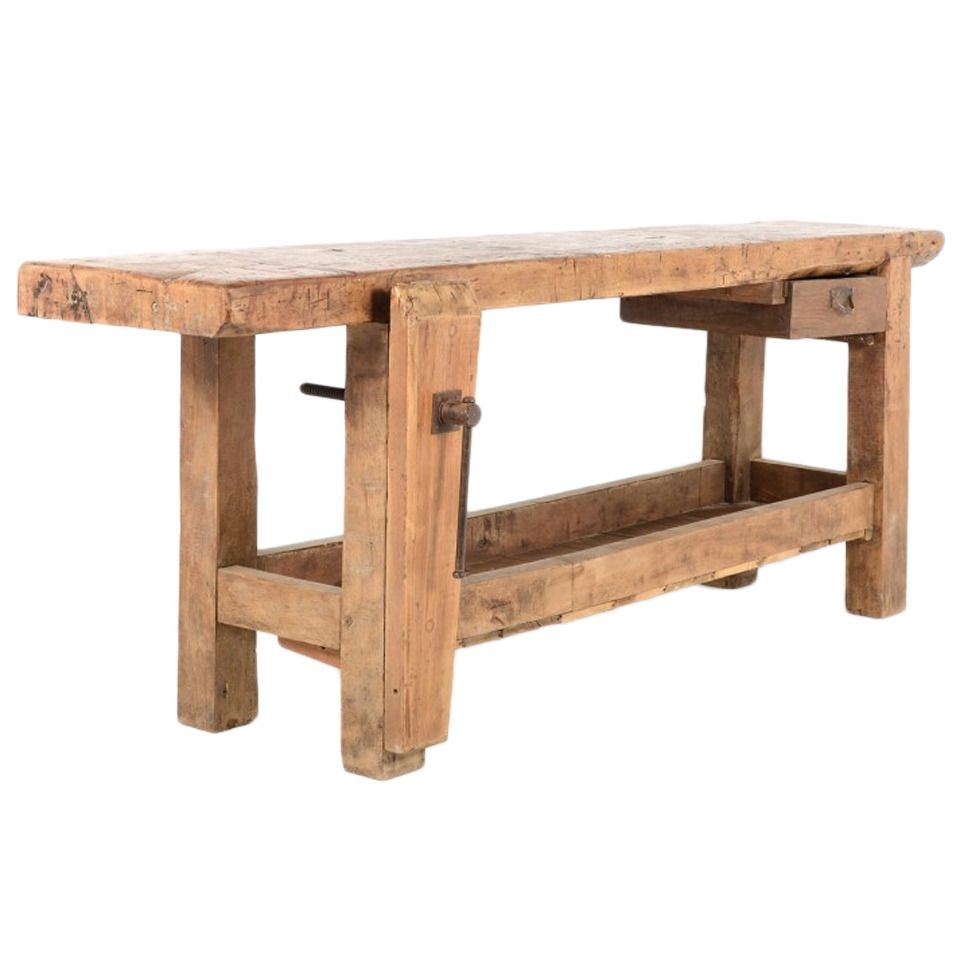 Industrial Workbench or Carpenters Bench 19th Century ...