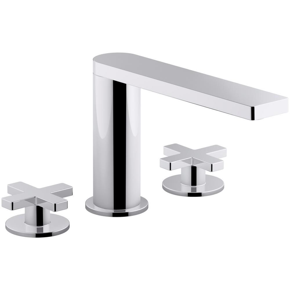 Widespread 2 Handle Cross Bathroom Faucet With Drain In