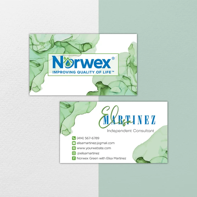 Watercolor Norwex Business Cards Personalized Norwex Template Nr30 Cleaning Business Cards Isagenix Business Cards Personal Business Cards