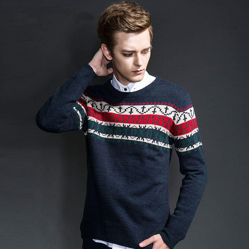 Hombres jersey puente marca de cuello redondo Vintage suéter de  invierno hombre ropa Casual patrón de prendas de punto Tops gran  tamaño ...