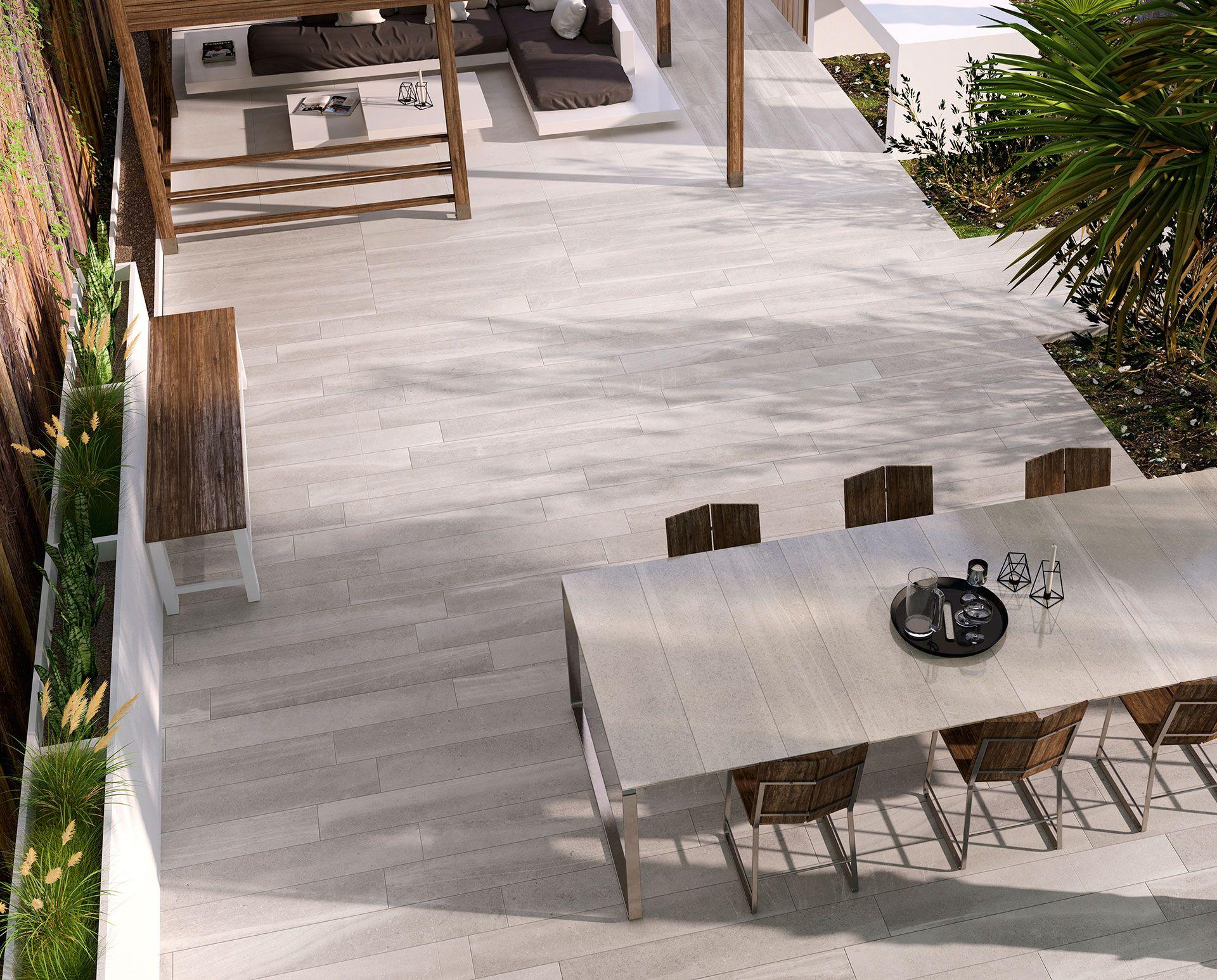 IRIS Ceramica porcelain outdoor pavements Bianco e Cemento