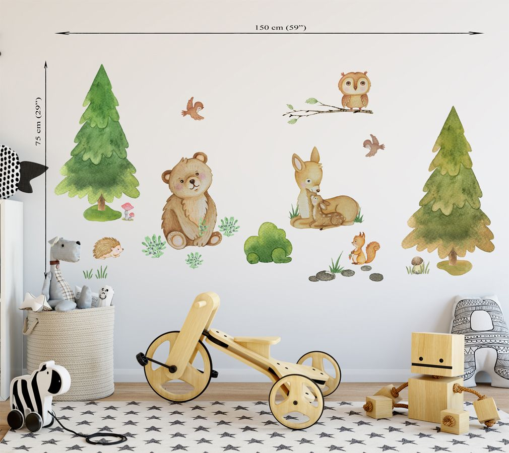 Woodland Wall Decal Girl Forest Animal Decal Woodland Wall Sticker