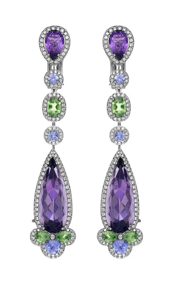 Chopard Temptations Earrings set with amethysts, lime-green emeralds, sky-blue sapphires and diamonds