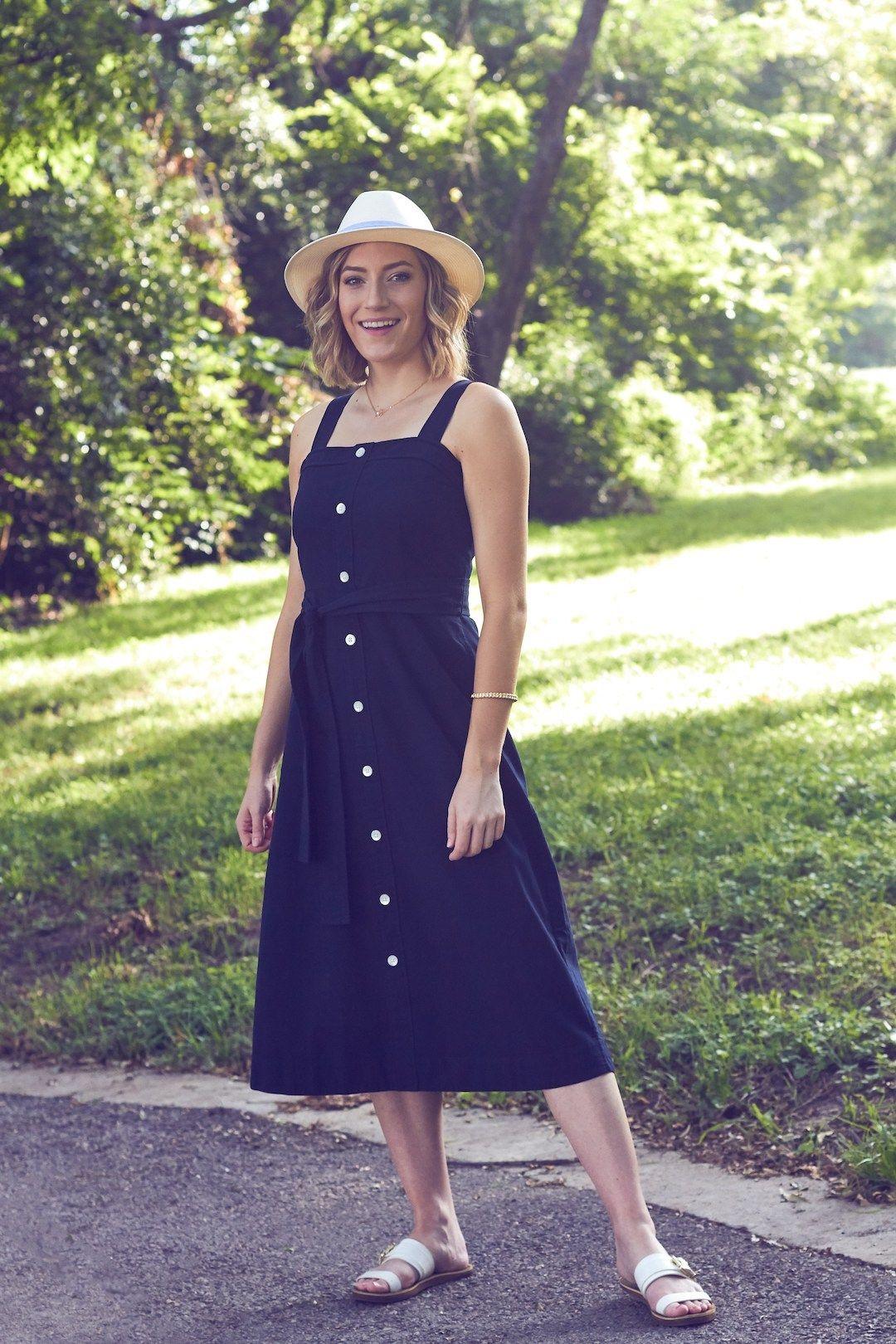 Everlane Navy Go Weave Cotton Midi Picnic Dress Picnic Dress Fashion Spring Summer Fashion [ 1620 x 1080 Pixel ]