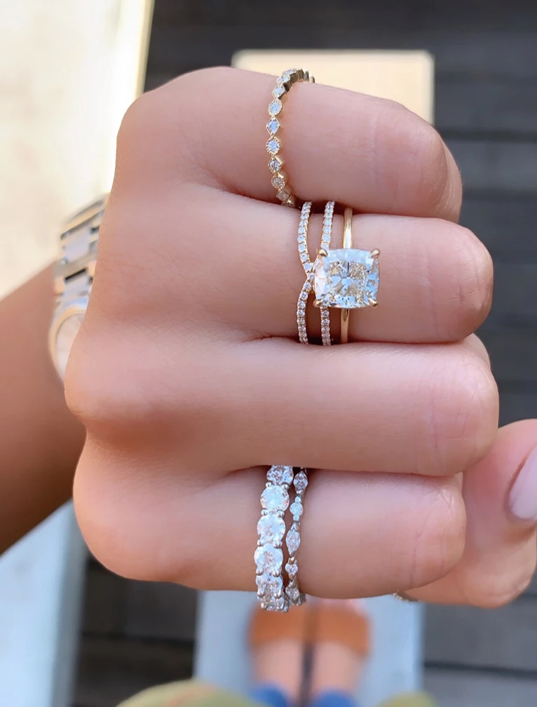 Gigi Unique Wedding Bands For Women Stacked Engagement Ring