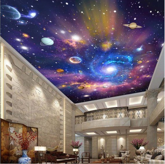 image 0 Wall painting living room, Galaxy room, Ceiling
