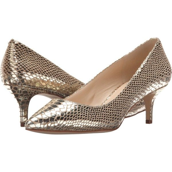 87d7d1f932e Nine West Xeena (Light Gold Metallic) Women s 1-2 inch heel Shoes ( 40) ❤  liked on Polyvore featuring shoes