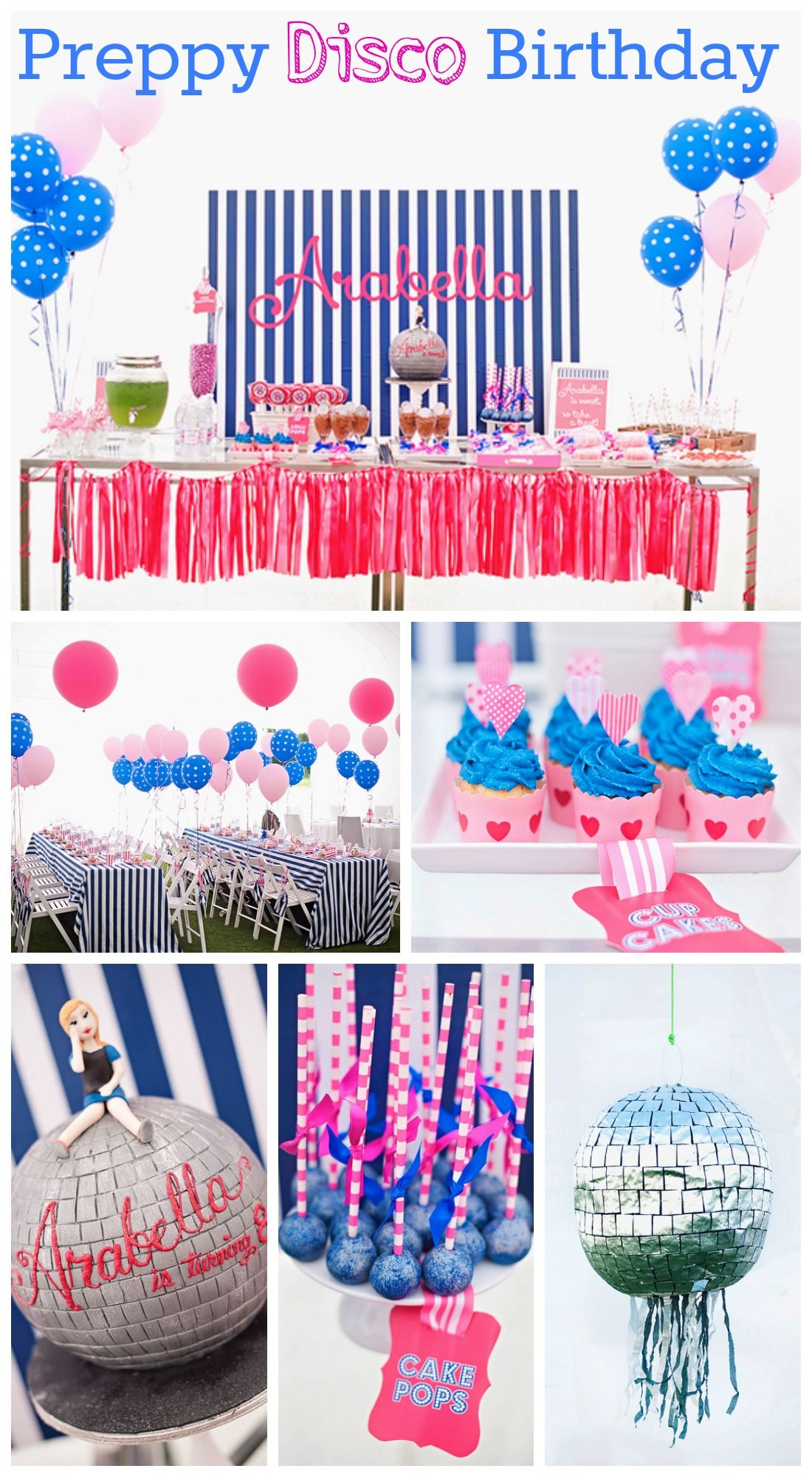 How About Throwing A Preppy Disco Girl Birthday Like This Beautiful Party See More Party Ideas A Kids Party Themes Girls Birthday Party Themes Rock Star Party