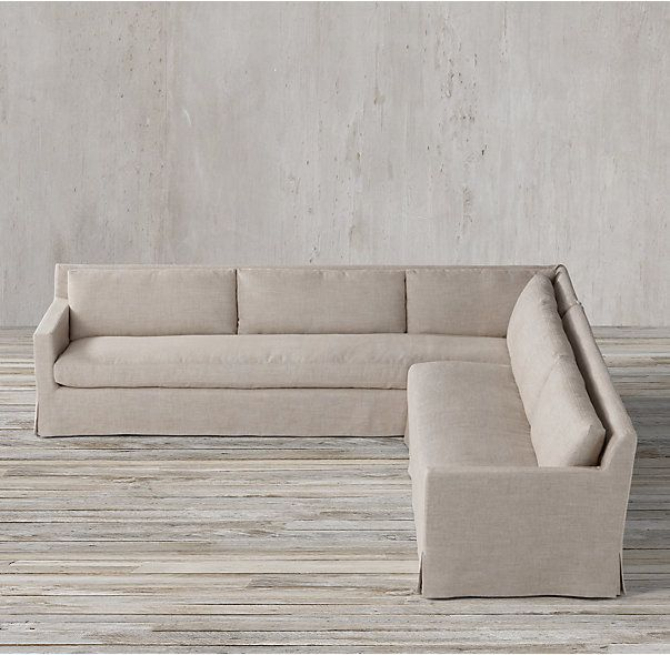petite belgian track arm slipcovered sofa queen size sleeper bed rh s preconfigured right l sectional our european inspired take on the slope redefines it for a new age