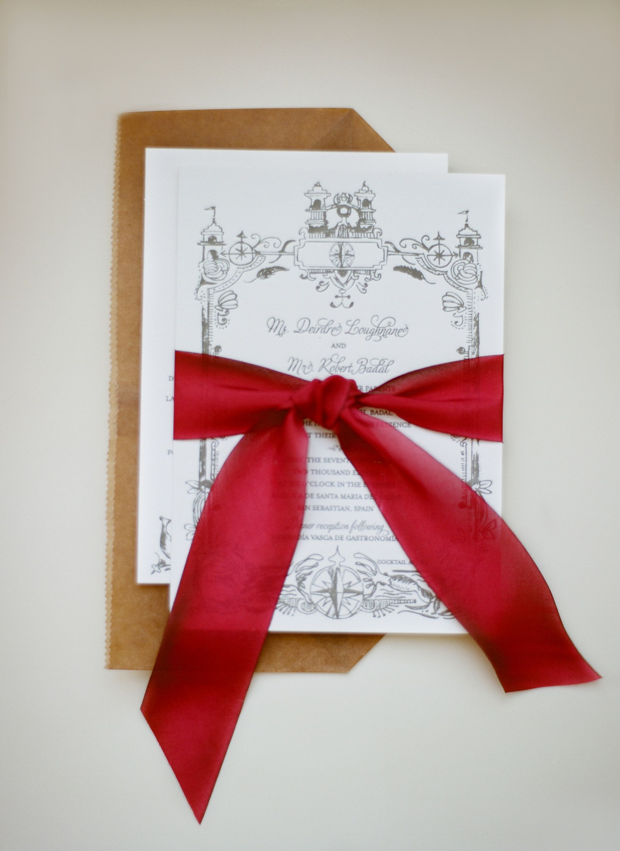 Invitation for our San Sebastian wedding. By Papel Paper & Press ...