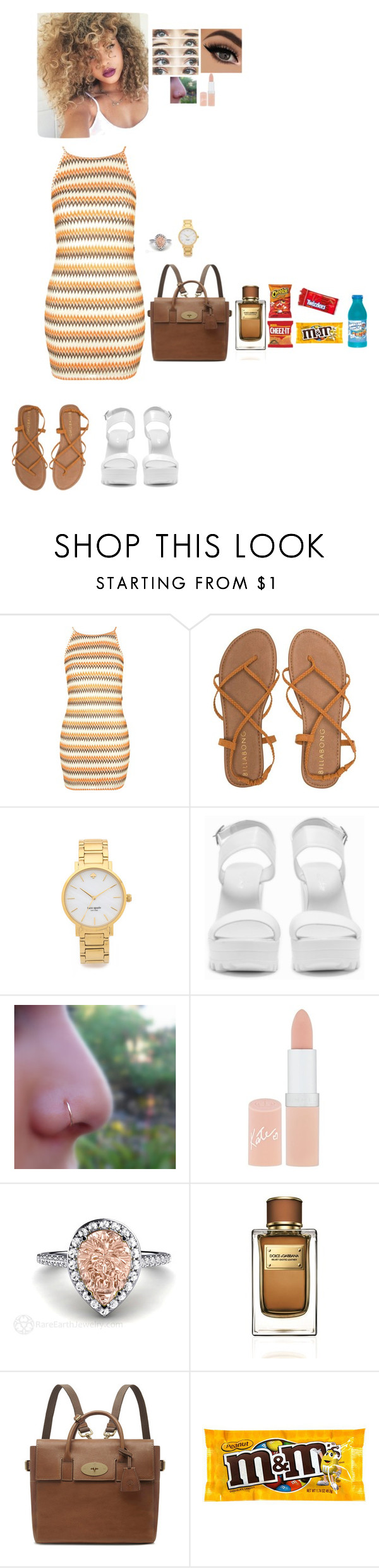 """Out in L.A."" by jaybirdie2000 ❤ liked on Polyvore featuring SkinCare, Topshop, Billabong, Kate Spade, Nly Shoes, Rimmel, Dolce&Gabbana and Hershey's"