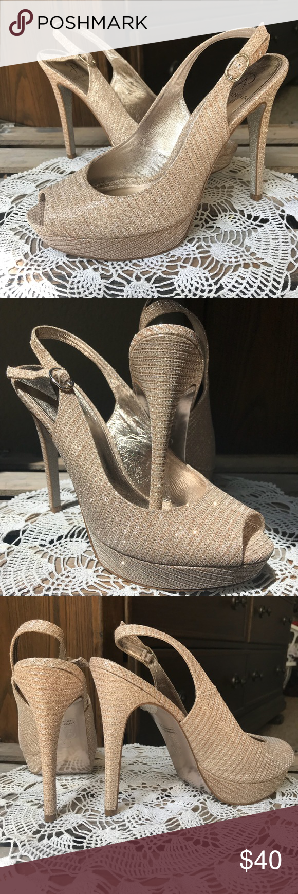 cbfc00aad Adrianna Papell Nude Lancelot Metallic Platforms Platforms with adjustable  slingback strap. I wore these once