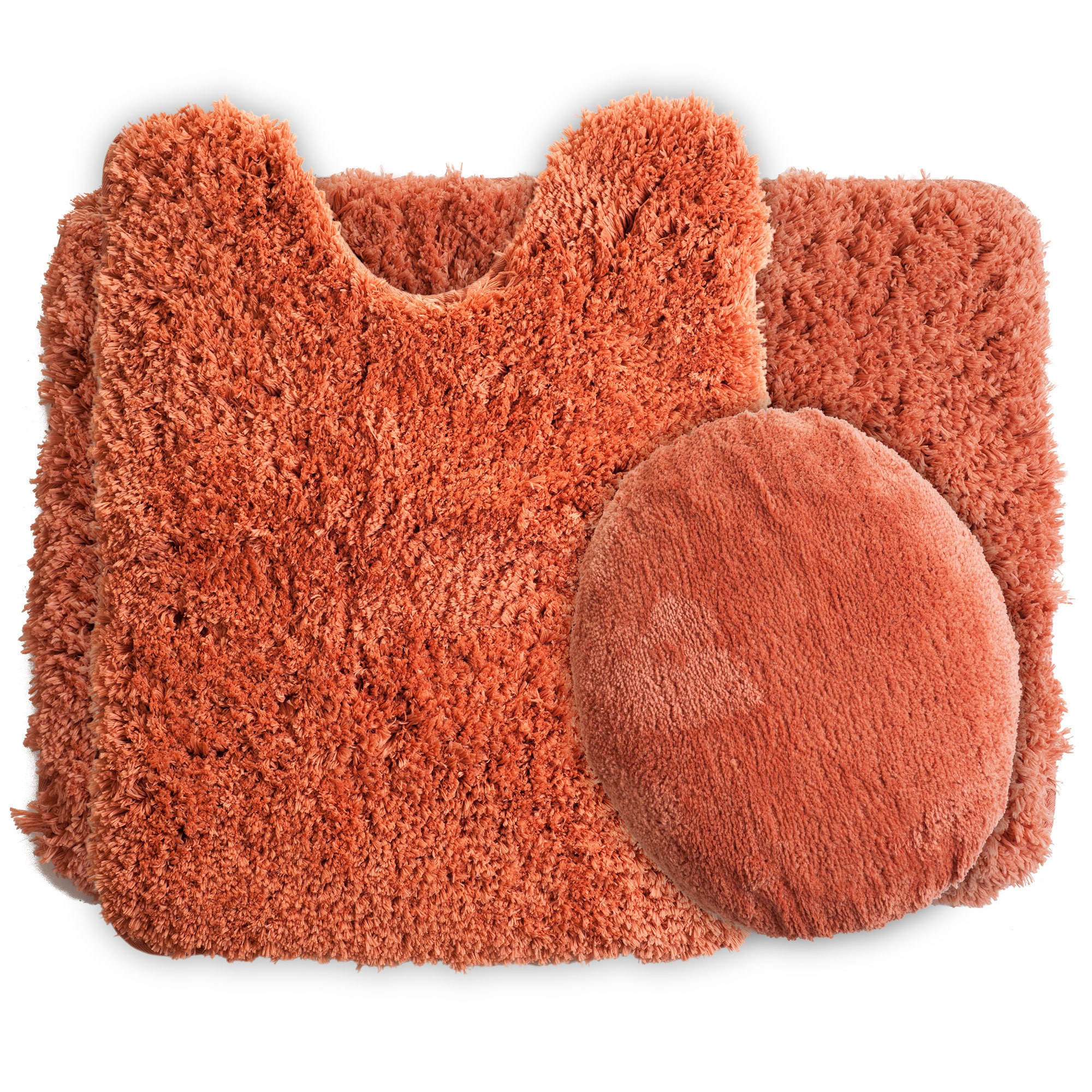 Solid Super Plush Non Slip Bath Mat Rug Set 3pc Rust Red