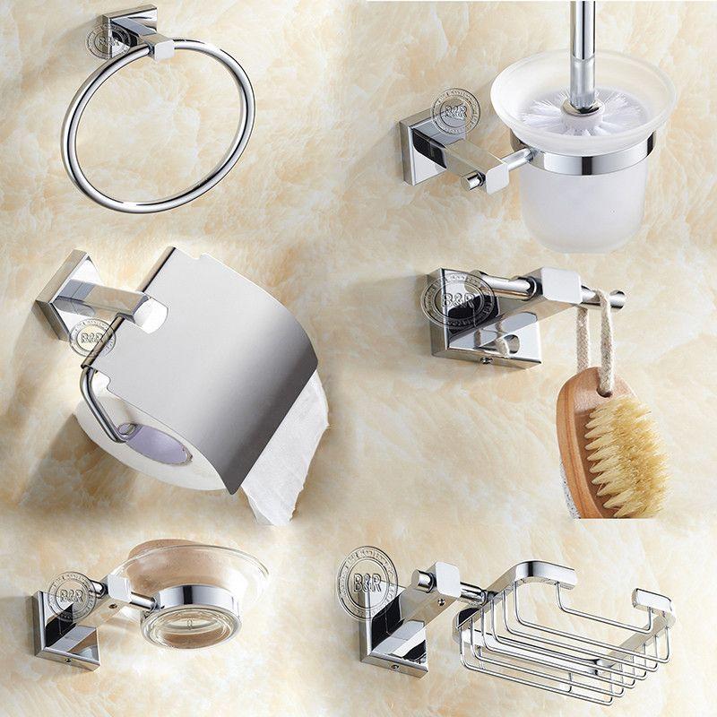 Bathroom Toilet Chrome 6 Piece Set Toilet Roll Holder Soap Toothbrush Towel Rail