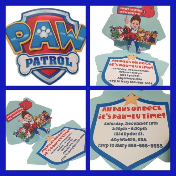 Paw patrol inspired invitations pop up card by timelessinvites birthday ideas pinterest for Paw patrol invitation ideas