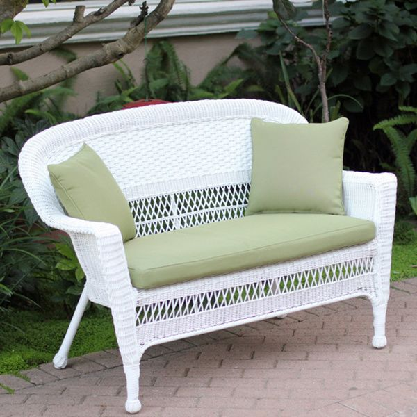 Fine White Wicker Loveseat With Cushion And Pillows 14 Dixon Ocoug Best Dining Table And Chair Ideas Images Ocougorg