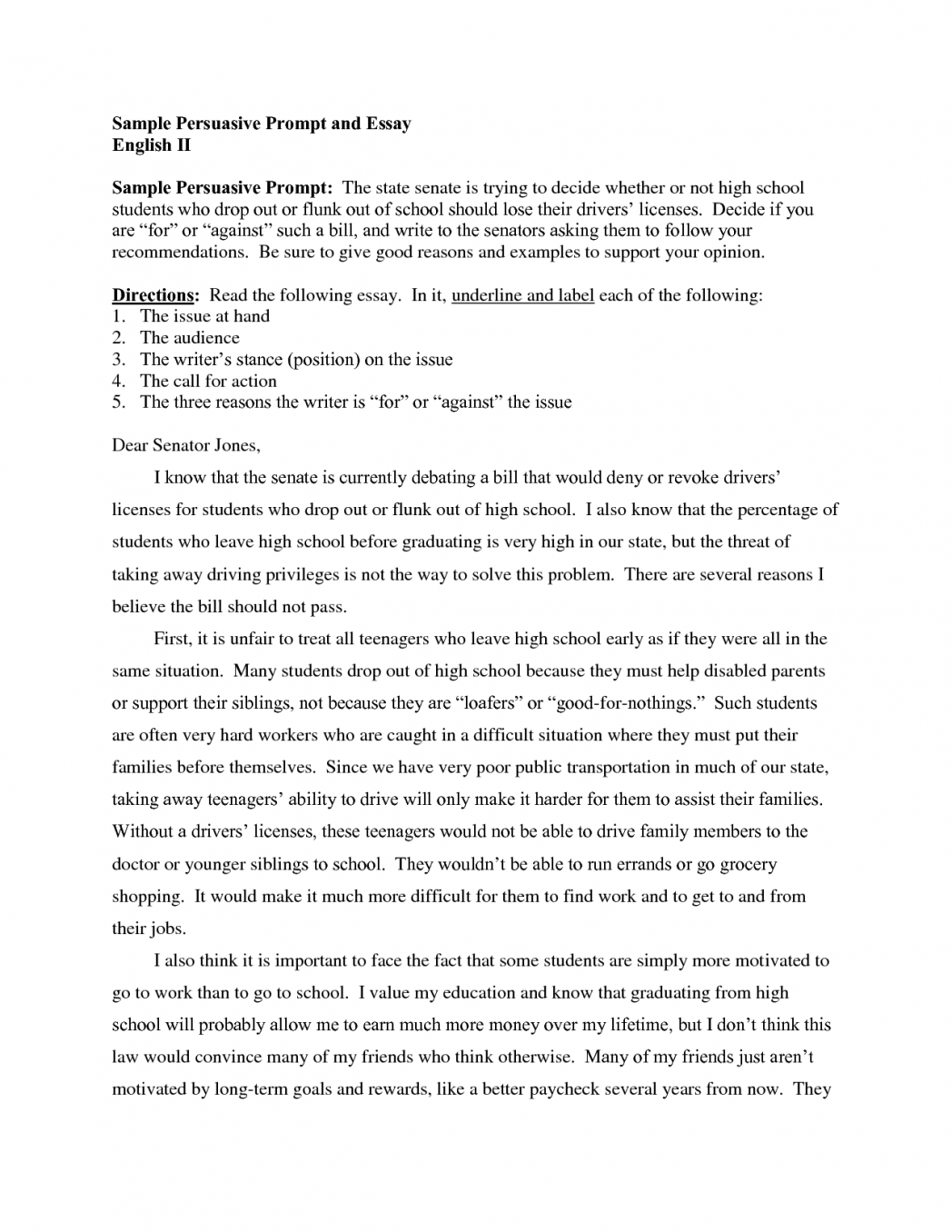 Argumentative Essay Topics For High School  Sample Essays For High School Students also Argumentative Essay High School Persuasive Essay Samples For High School Goal Blockety Co  Essays On Science And Technology