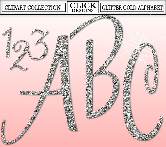 Glitter Silver Alphabet Digital Clipart Letters Numbers Etsy Digital Clip Art Clip Art Alphabet